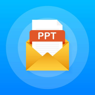 Download v button. Downloading document concept. File with PPT label and down arrow sign. Vector illustration.