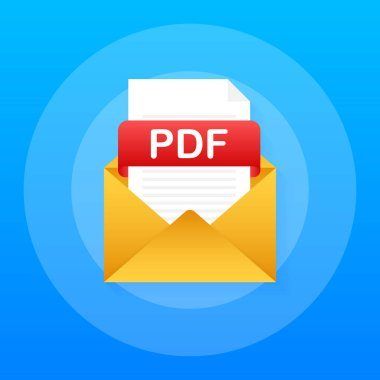 Download PDF button. Downloading document concept. File with PDF label and down arrow sign. Vector illustration.
