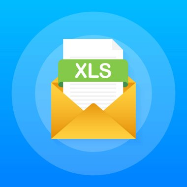 Download XLS button. Downloading document concept. File with XLS label and down arrow sign. Vector illustration.