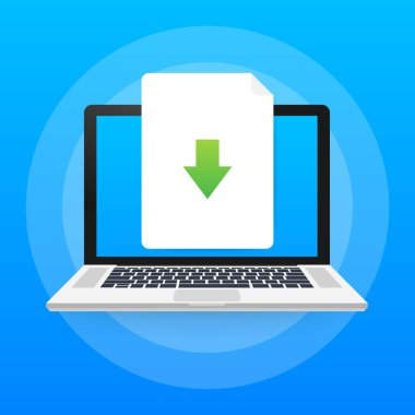 Laptop and download file icon. Document downloading concept. Trendy flat design graphic with long shadow. Vector illustration.