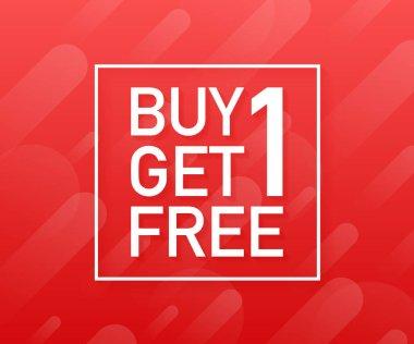 Buy 1 Get 1 Free, sale tag, banner design template. Vector illustration.