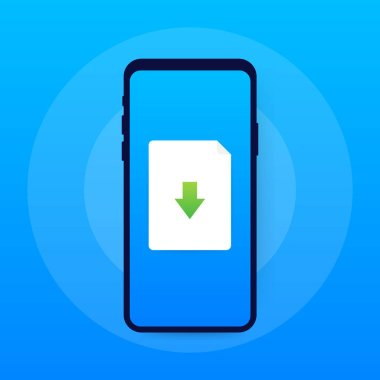 Smartphone and download file icon. Document downloading concept. Trendy flat design graphic with long shadow. Vector illustration.