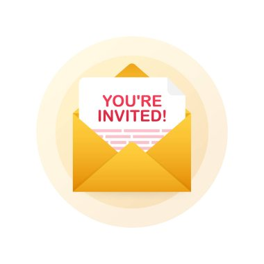 You're invited! Badge icon. Written Inside An Envelope Letter. Vector illustration.