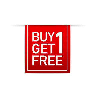 Red ribbon Buy 1 Get 1 Free, sale tag, banner design template. Vector illustration.