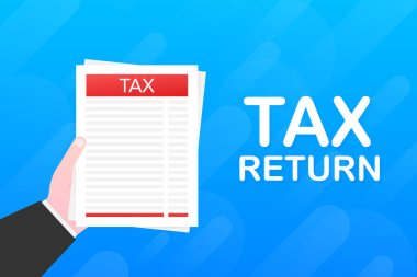 Tax return. Government, state taxes. Data analysis, financial research, paperwork. Vector illustration.