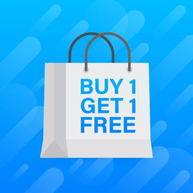 Buy 1 Get 1 Free, sale tag, banner design template. Vector stock illustration.