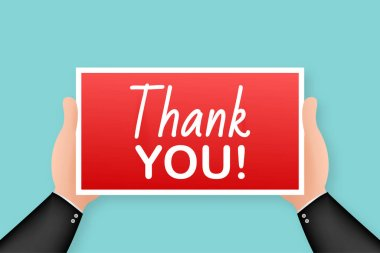 Thank you. Cartoon poster with hand holding placard for banner design. Banner, Billboard design. Vector stock illustration.