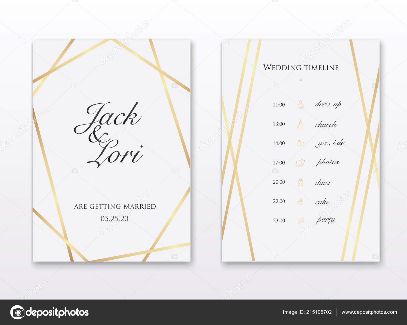 Wedding Invitation Cards Golden Lines White Background