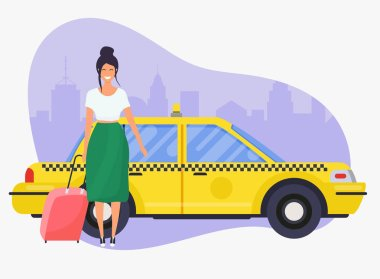 Vector illustration of happy woman with red luggage standing near yellow taxi