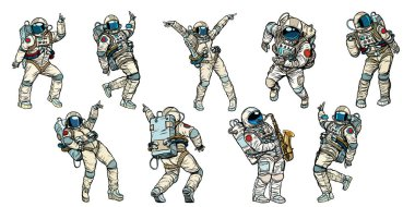 Set of dancing astronauts collection