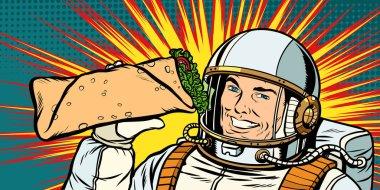 Smiling man astronaut presents Shawarma kebab Doner. Pop art retro vector illustration vintage kitsch drawing clip art vector