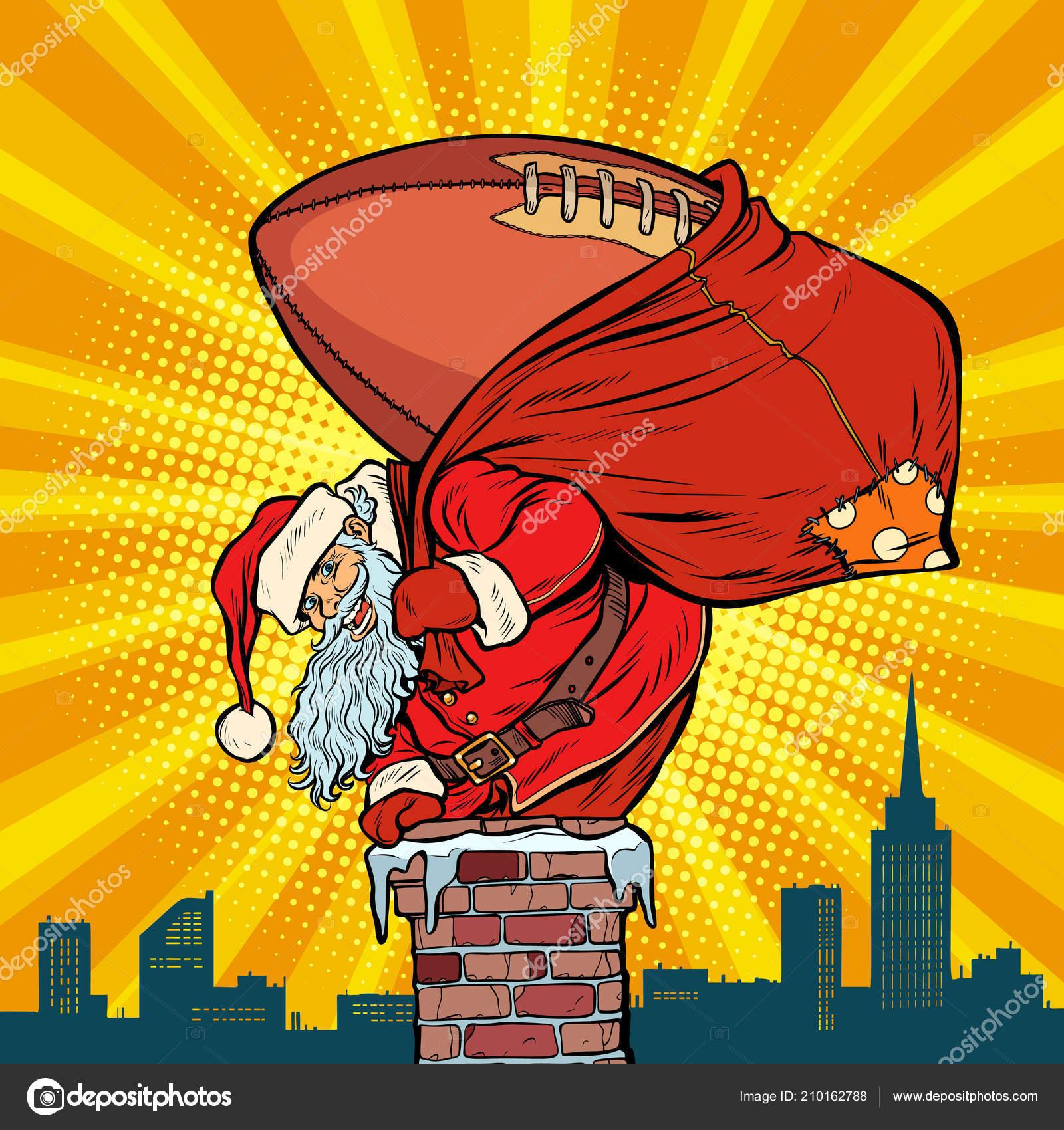 Amerikanische Weihnachtsgrüße.Amerikanischer Fußball Ball Weihnachtsmann Mit Geschenken Steigt In
