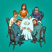 okultní seanci, lidé u stolu