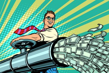 Businessman opens pipe, money Finance dollars flow