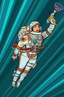 Superhero woman astronaut paratrooper with Blaster, science fict