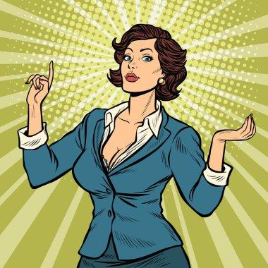 businesswoman presentation gesture
