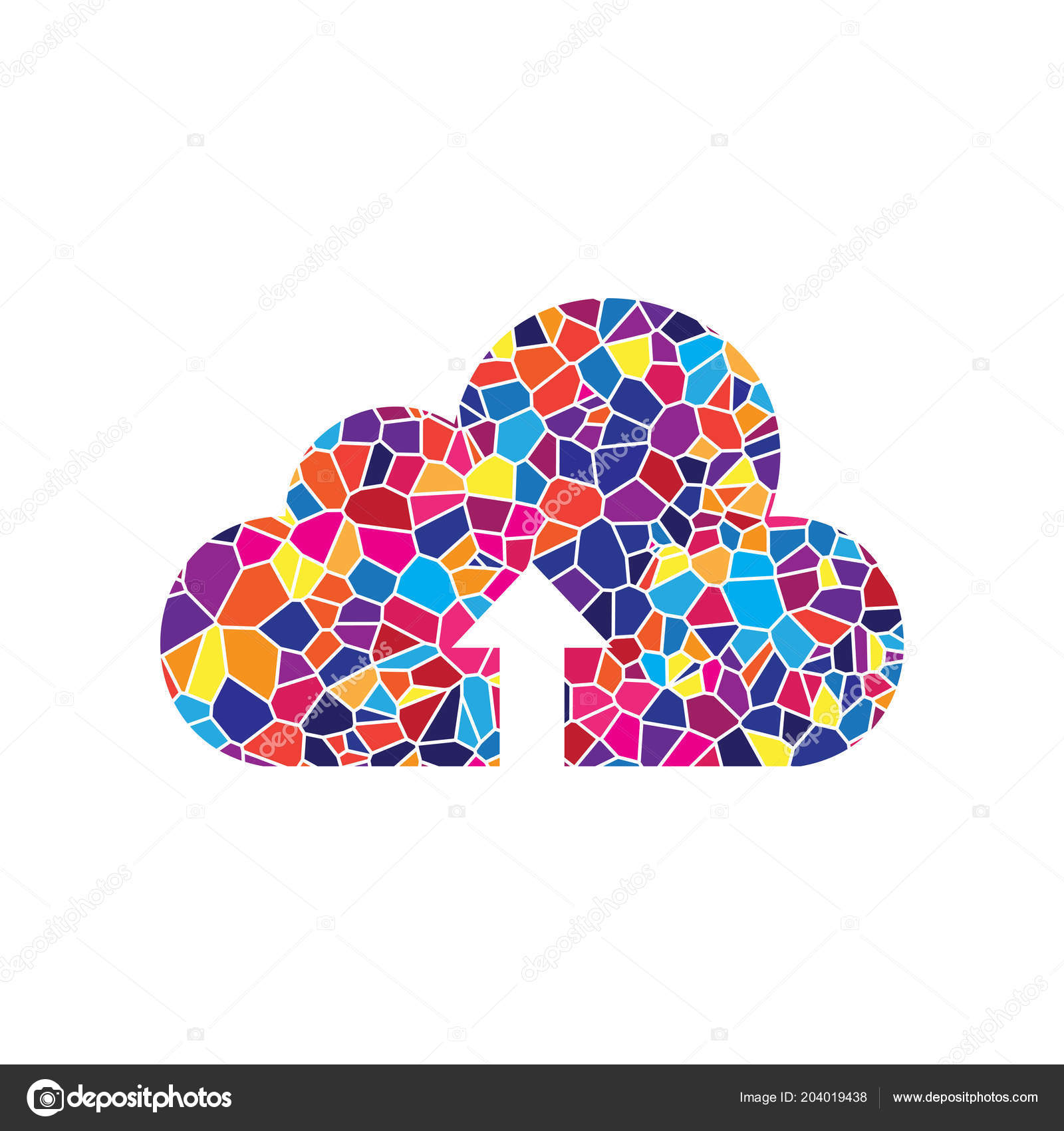 b4ff0a9f6 Cloud technology sign. Vector. Stained glass icon on white backg– stock  illustration