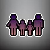 Fotografie Familie Schild. Vektor. Violet gradient Icon mit schwarz / weiß l