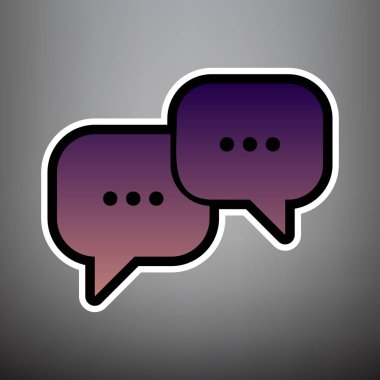Speech bubbles sign. Vector. Violet gradient icon with black and