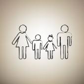 Fotografie Familie Schild. Vektor. Bürste eingezeichnet schwarze Symbol Licht braun zurück