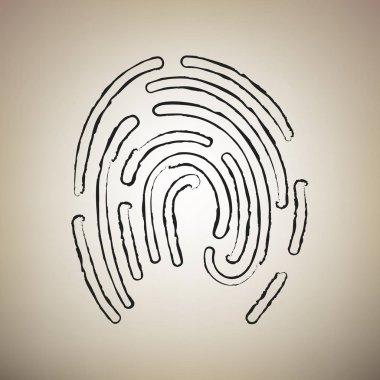 Fingerprint sign illustration. Vector. Brush drawed black icon a