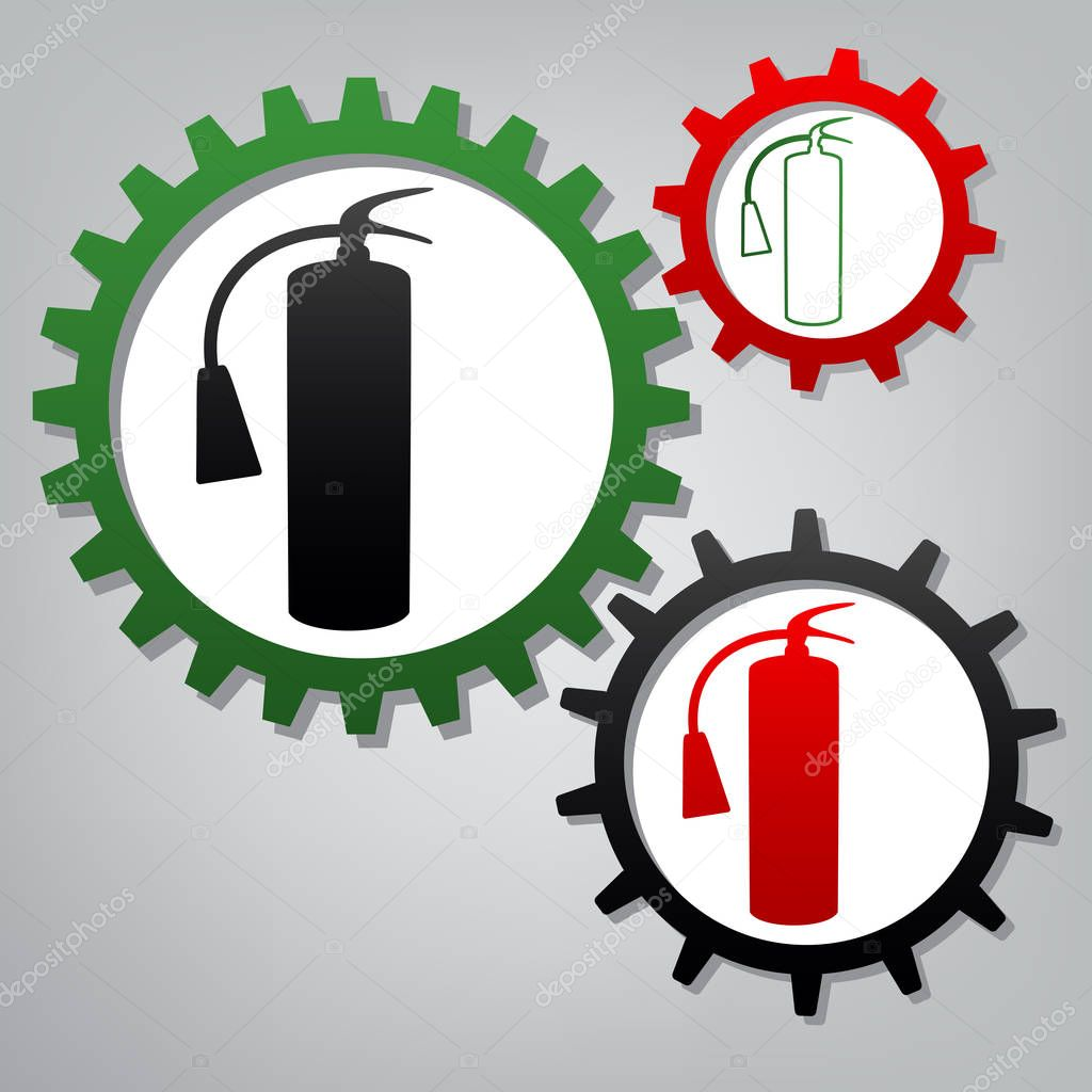 Fire extinguisher sign. Vector. Three connected gears with icons