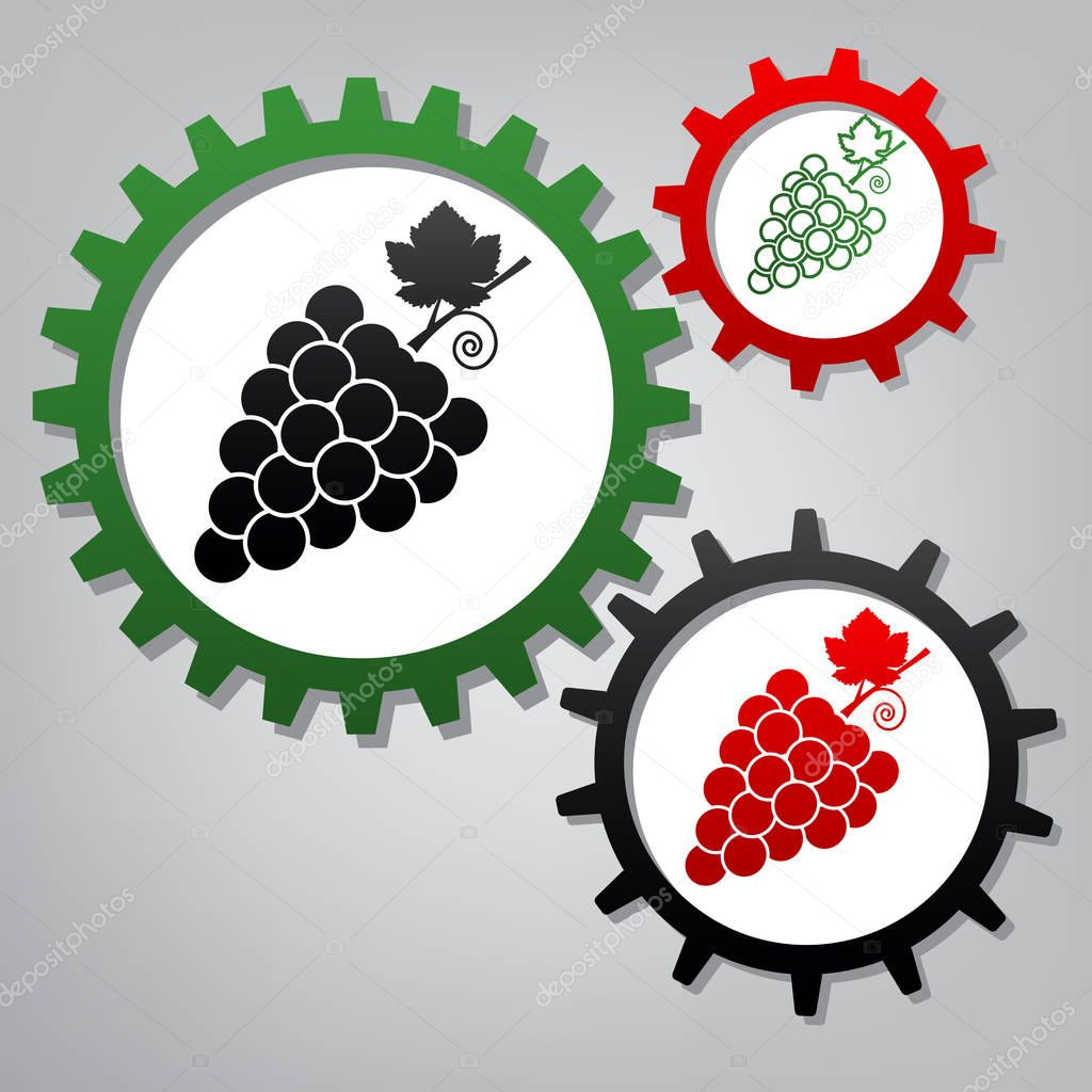 Grapes sign illustration. Vector. Three connected gears with ico