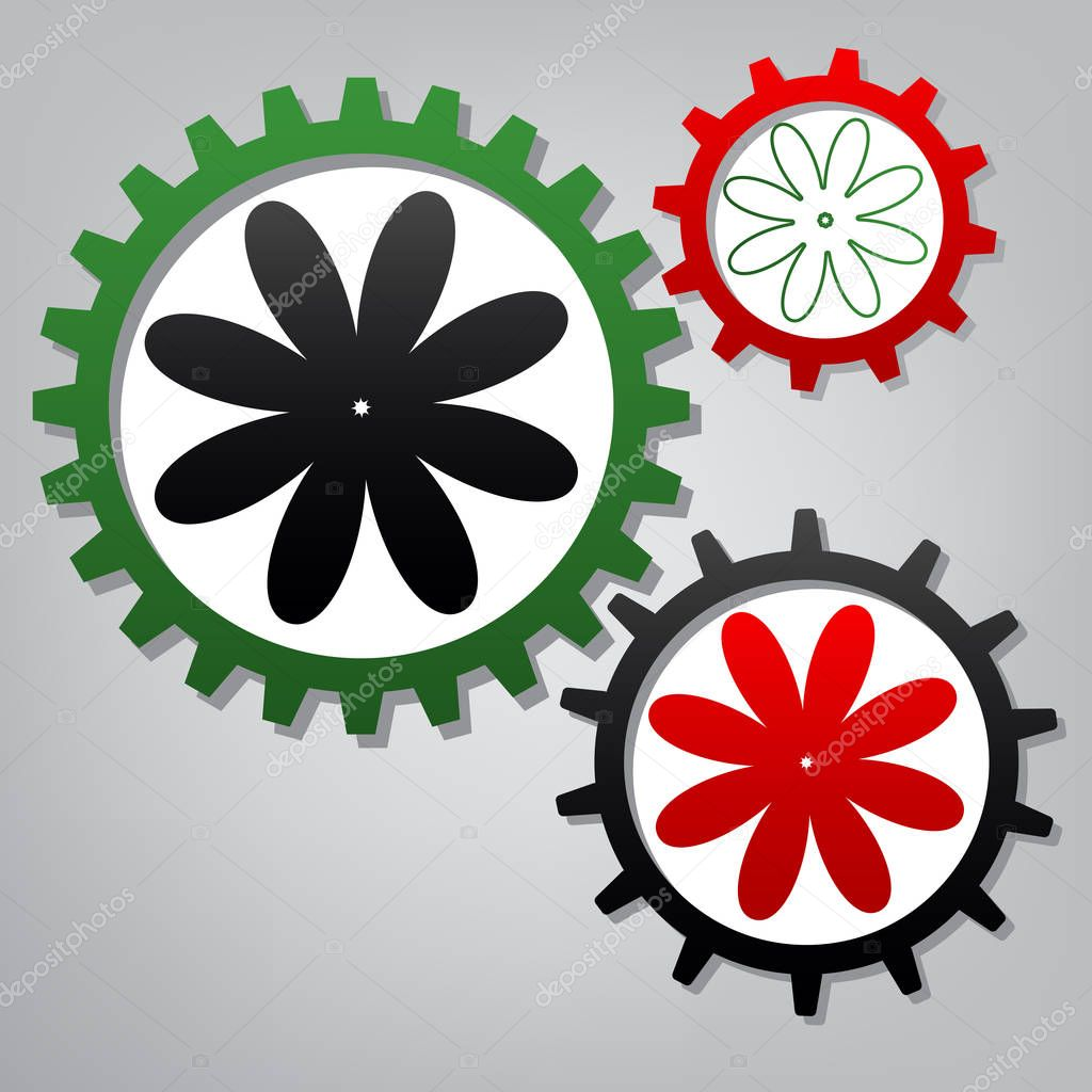 Flower sign illustration. Vector. Three connected gears with ico
