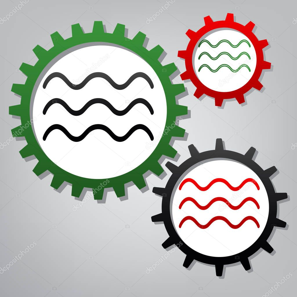 Waves sign illustration. Vector. Three connected gears with icon
