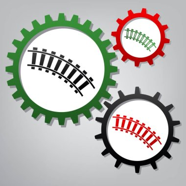 Railway sign. Curved track. Vector. Three connected gears with i