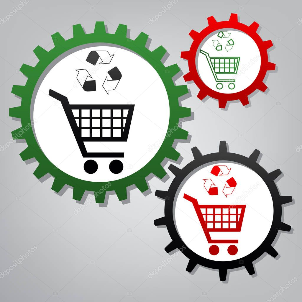 Shopping cart icon with a recycle sign. Vector. Three connected