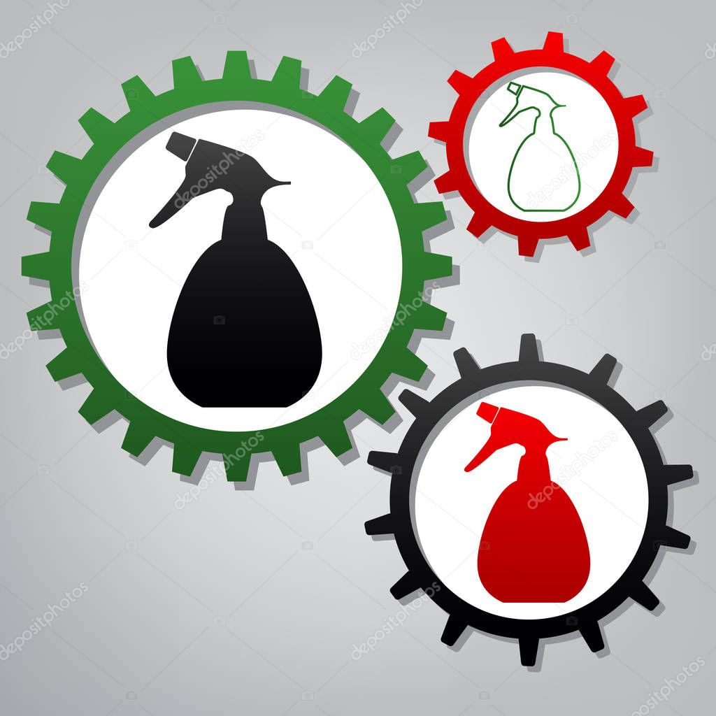 Spray bottle for cleaning sign. Vector. Three connected gears wi