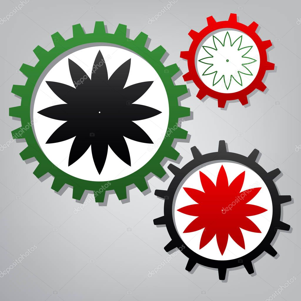 Flower sign. Vector. Three connected gears with icons at grayish