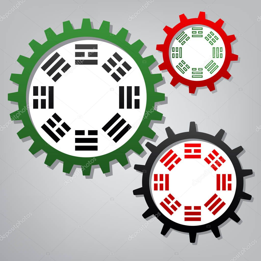Bagua sign. Vector. Three connected gears with icons at grayish