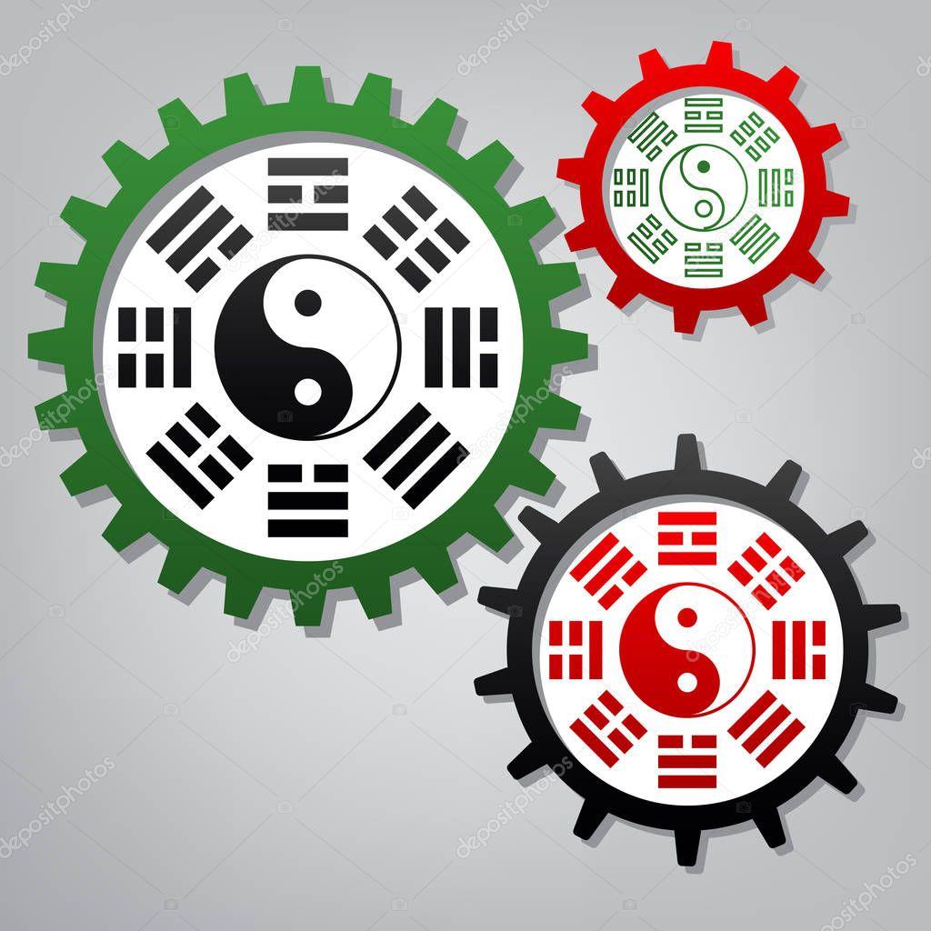 Yin and yang sign with bagua arrangement. Vector. Three connecte