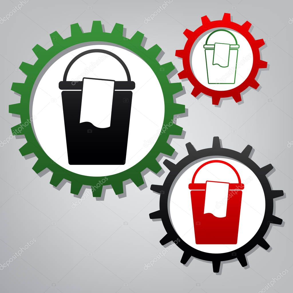 Bucket and a rag sign. Vector. Three connected gears with icons