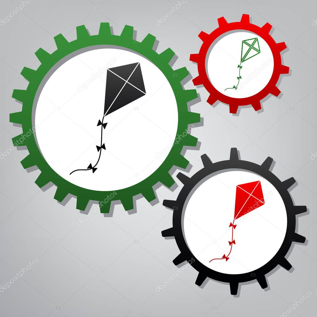 Kite sign. Vector. Three connected gears with icons at grayish b