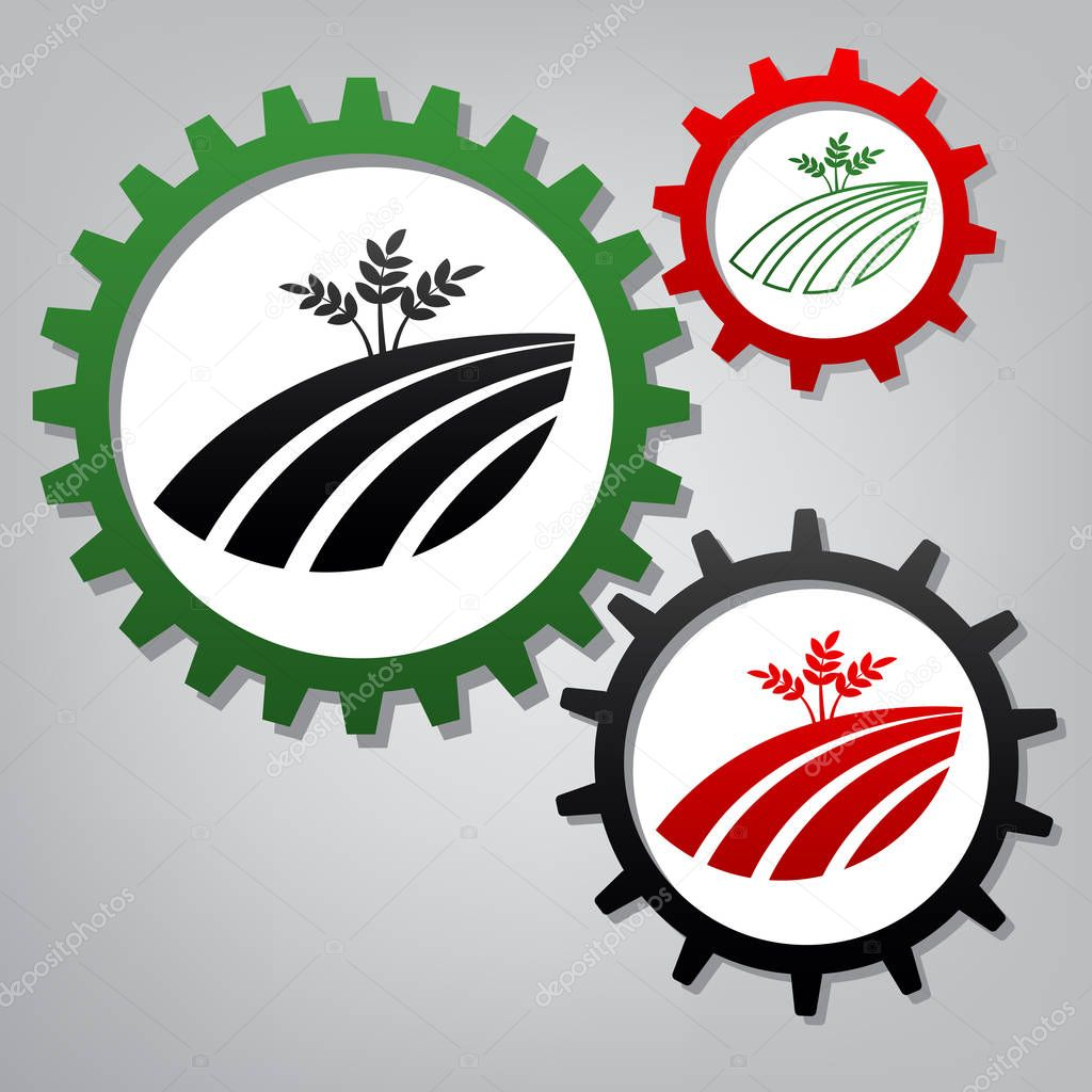 Wheat field sign. Vector. Three connected gears with icons at gr