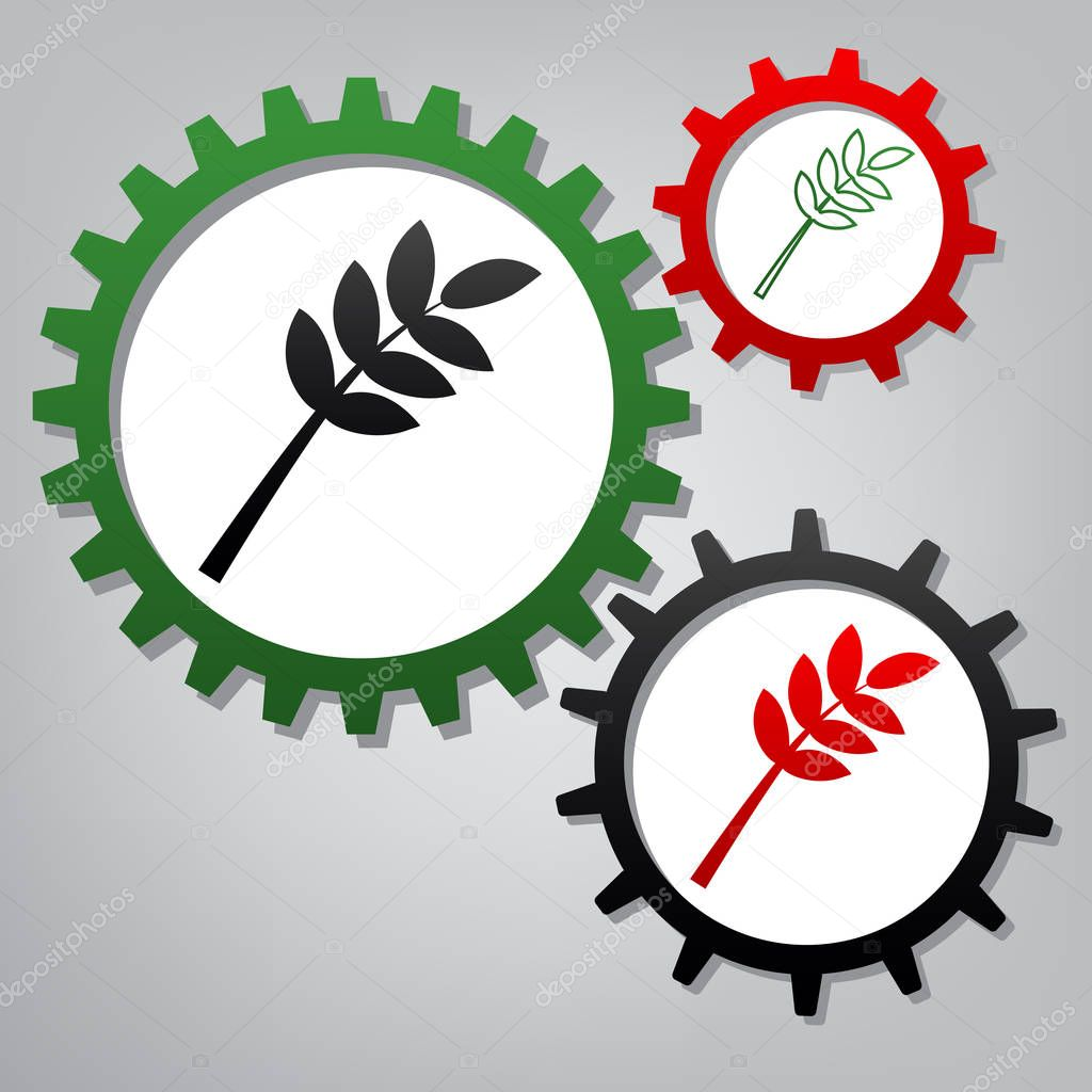 Tree branch sign. Vector. Three connected gears with icons at gr