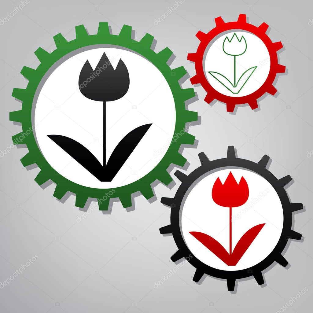 Tulip sign. Vector. Three connected gears with icons at grayish