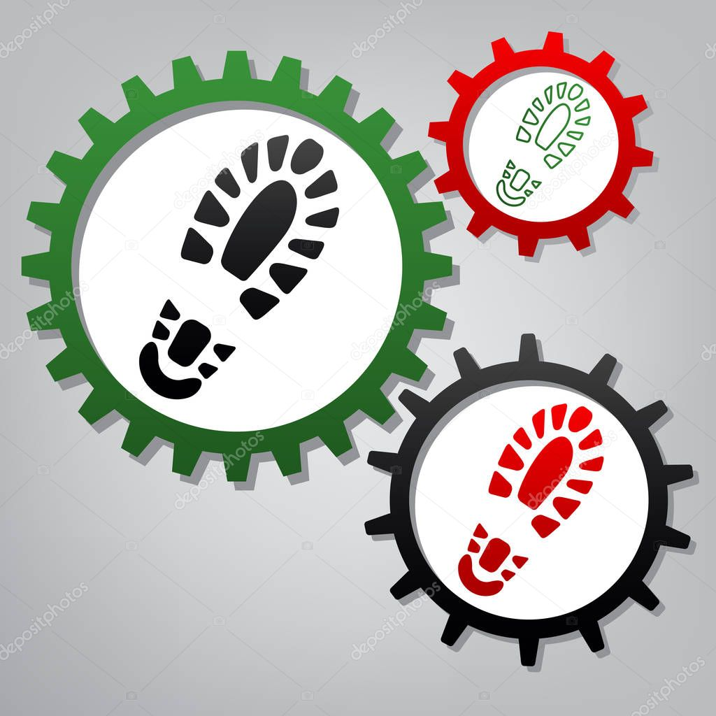 Footprint boot sign. Vector. Three connected gears with icons at