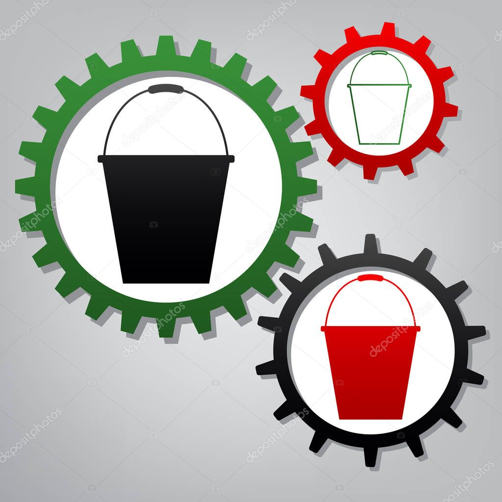 Bucket sign for garden. Vector. Three connected gears with icons