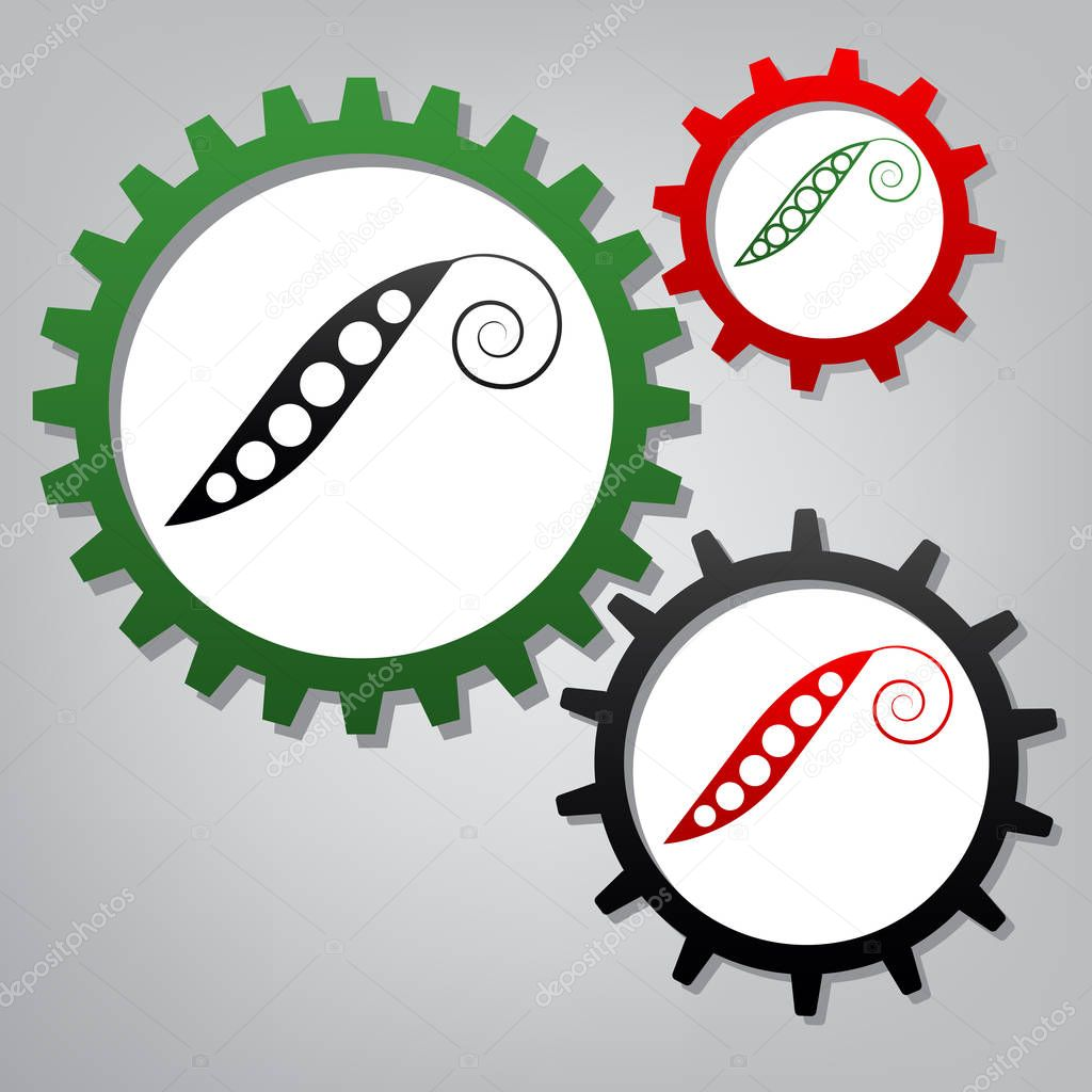 Eco food vegetables Pea sign. Vector. Three connected gears with