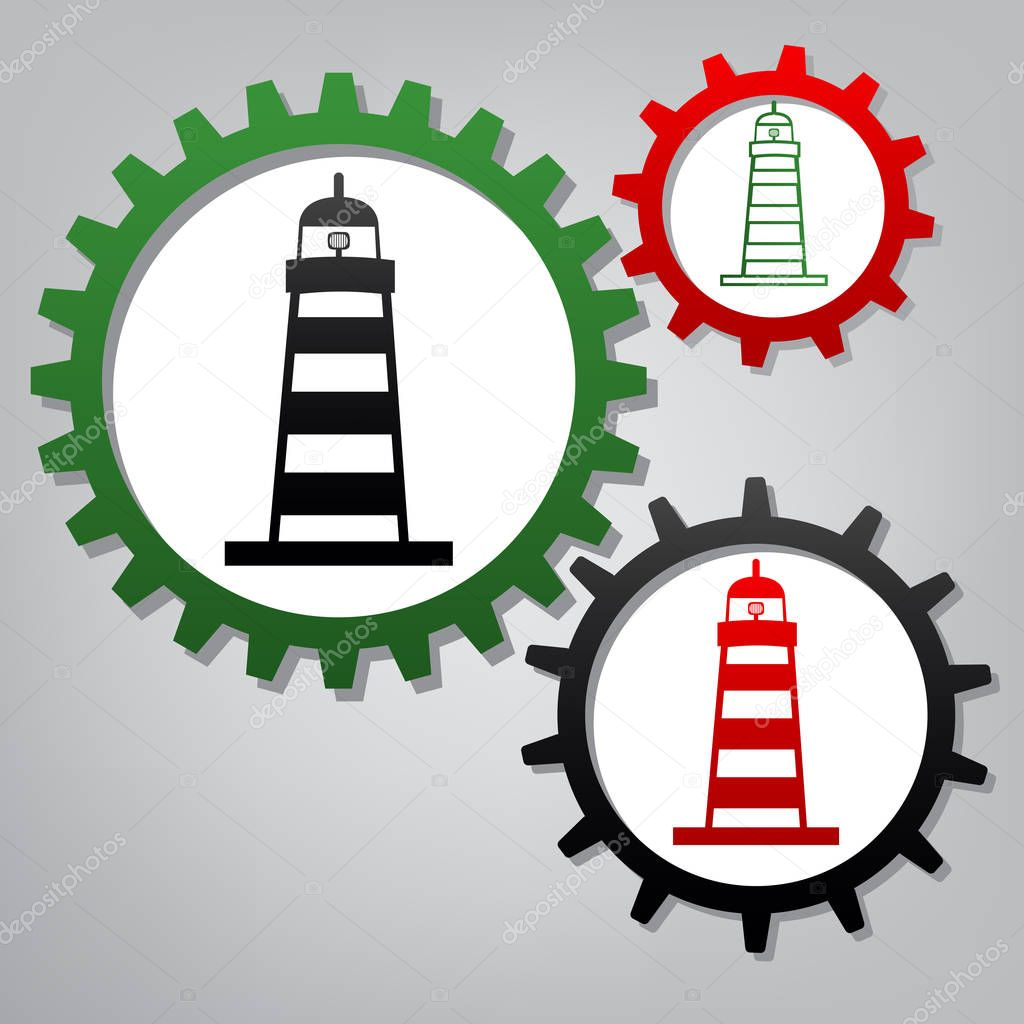 Lighthouse sign illustration. Vector. Three connected gears with