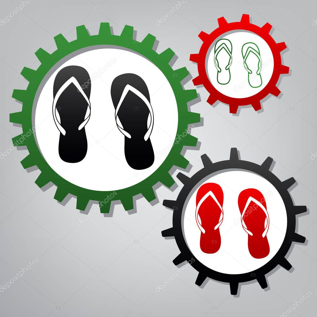 Flip flop sign. Vector. Three connected gears with icons at gray
