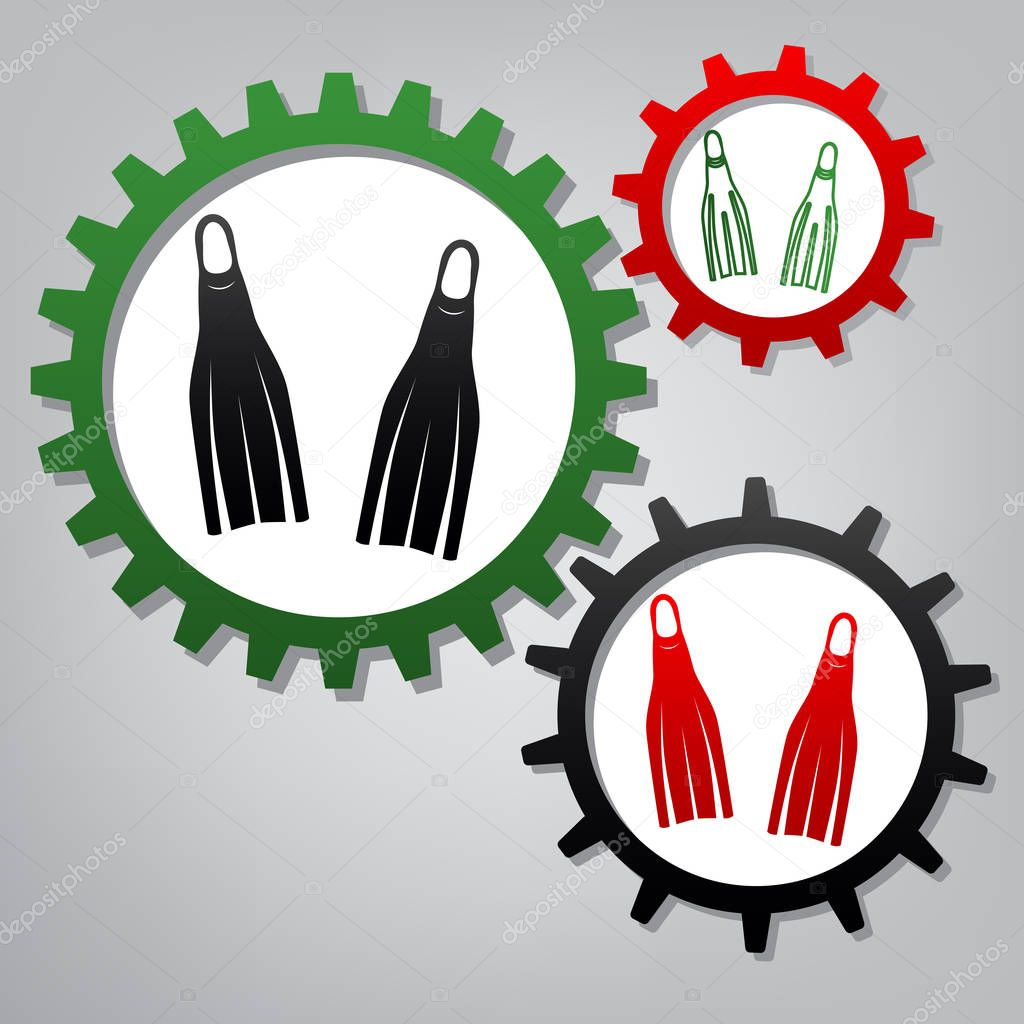 Diving flippers sign. Vector. Three connected gears with icons a