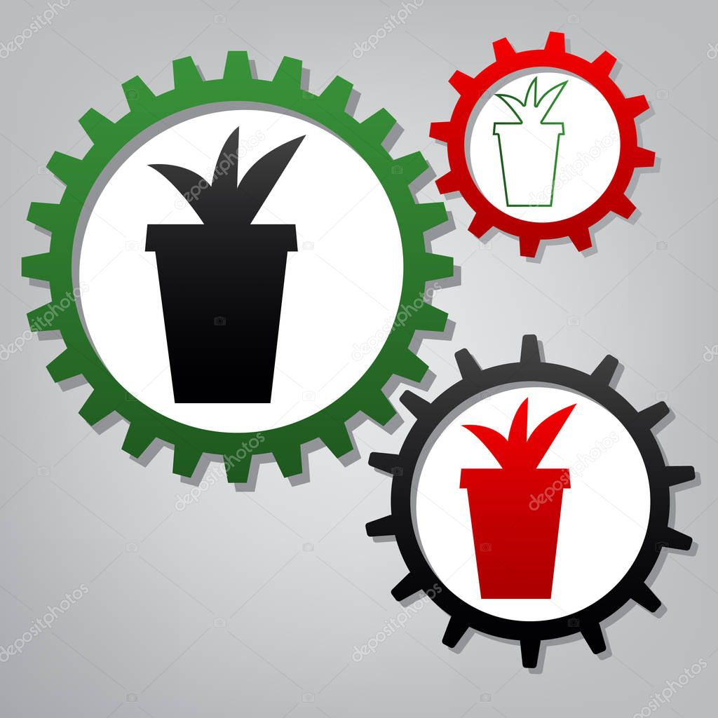 Flowerpot sign illustration. Vector. Three connected gears with