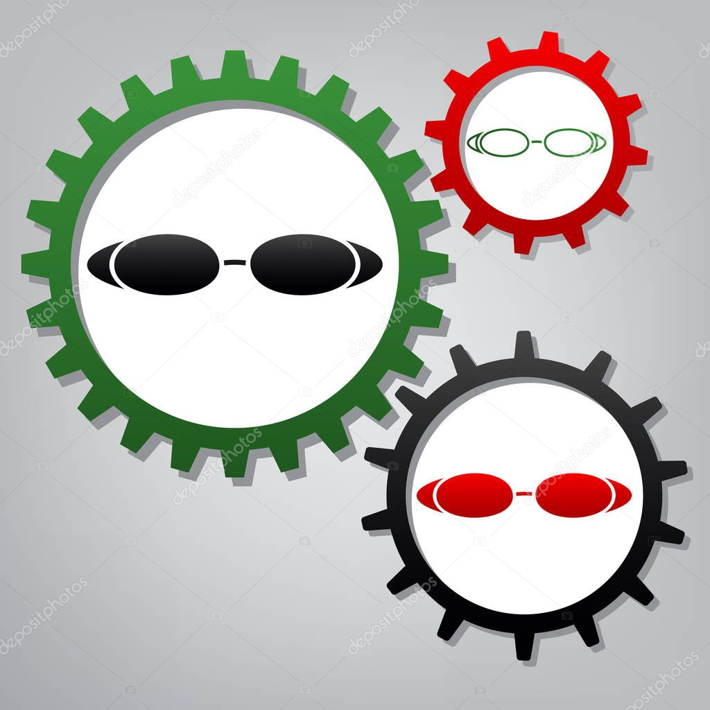 Diving glasses sign illustration. Vector. Three connected gears