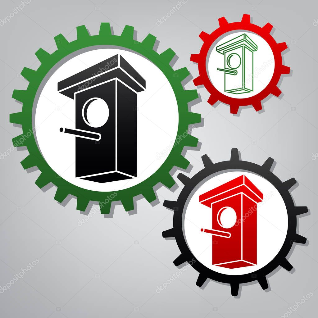 Birdhouse sign illustration. Vector. Three connected gears with
