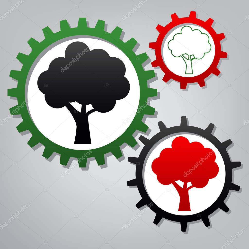 Tree icon. Vector. Three connected gears with icons at grayish b